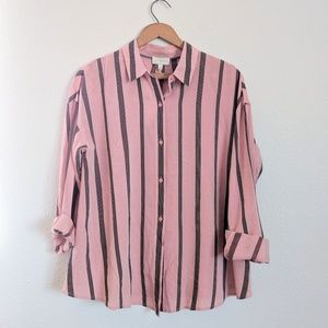 NWT Lucky Brand Pink Striped Button Up - S